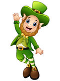 Funny cartoon leprechaun jumping Royalty Free Stock Images