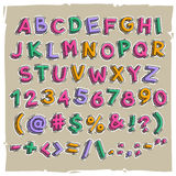 Funny Cartoon Letters and Numbers. JPG file with clipping paths Royalty Free Stock Photos