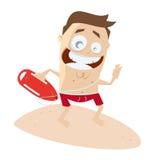 Funny cartoon lifeguard Stock Photography