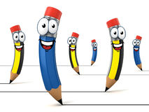 Funny cartoon like pencils 3d illustration Royalty Free Stock Image