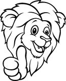 Funny cartoon lion giving thumb up Stock Photos