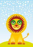Funny cartoon lion on green grass and sky background. Vector Royalty Free Stock Images