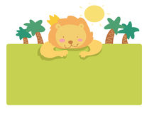Funny cartoon lion page Stock Images