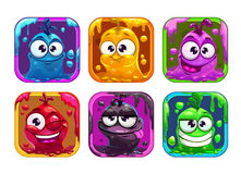 Funny cartoon liquid characters in the frame Royalty Free Stock Photography
