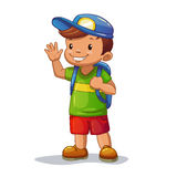 Funny cartoon little boy with school bag. Is waving his hand Stock Photos