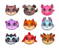 Funny cartoon little cute animals faces Stock Photo
