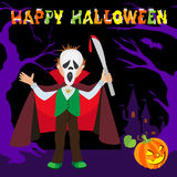 Funny cartoon little Dracula, boy wearing Halloween costume, with lettering trees pumpkin vector illustration Royalty Free Stock Photography