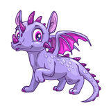 Funny cartoon little dragon icon. royalty free illustration
