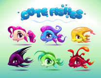 Funny cartoon little fishes set Royalty Free Stock Image
