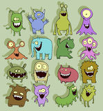 Funny cartoon little monsters. Colorful illustration set of cute little smiling monsters Stock Photography