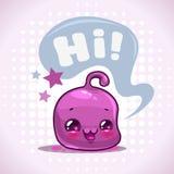 Funny cartoon little purple kawaii character Royalty Free Stock Photo