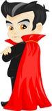 Funny cartoon little vampire, boy wearing Halloween costume stock illustration