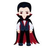 Funny cartoon little vampire, boy wearing Halloween costume, vector illustration Stock Photo