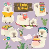 Funny cartoon llamas alpaca reading books. Vector set royalty free stock photo