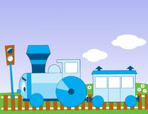 Funny cartoon locomotive Royalty Free Stock Image
