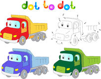 Funny cartoon lorry. Connect dots and get image. Educational gam Royalty Free Stock Images