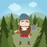 Funny cartoon lumberjack in forest Stock Images