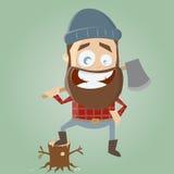 Funny cartoon lumberjack Stock Photos