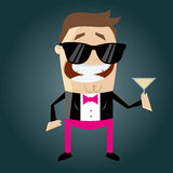 Funny cartoon macho with cocktail Stock Image