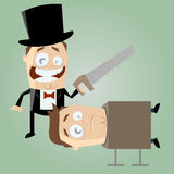 Funny cartoon magician with a saw Royalty Free Stock Image