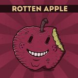 Funny, cartoon, malicious, violet monster apple, on the scratchy retro background. Vector illustration. Halloween card. Rotten app. Le Royalty Free Stock Image