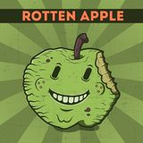 Funny, cartoon, malicious, violet monster apple, on the scratchy retro background. Vector illustration. Halloween card. Rotten app. Le Royalty Free Stock Photography
