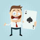 Funny cartoon man with big ace Stock Image