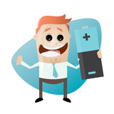 Funny cartoon man with big battery Royalty Free Stock Photography