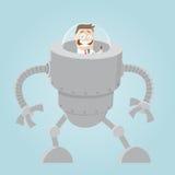 Funny cartoon man in big robot Royalty Free Stock Photos