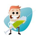 Funny cartoon man with big syringe Stock Photo