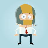 Funny cartoon man with crash helmet Royalty Free Stock Image