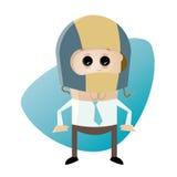 Funny cartoon man with crash helmet Stock Photos
