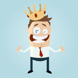 Funny cartoon man with a crown Royalty Free Stock Photography