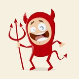 Funny cartoon man in devil halloween costume Stock Photography