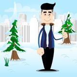 Man dressed for winter making thumbs up sign. royalty free illustration