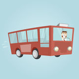 Funny cartoon man is driving a bus Royalty Free Stock Photography