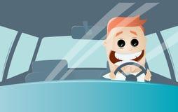 Funny cartoon man driving a car Stock Photos