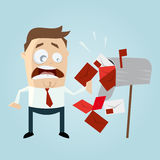 Funny cartoon man with dunning notice in letterbox Stock Photo