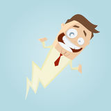 Funny cartoon man is fast as a lightning Royalty Free Stock Photography
