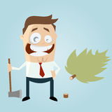 Funny cartoon man with felled tree Royalty Free Stock Photography