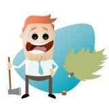 Funny cartoon man with felled tree Stock Photos