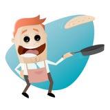 Funny cartoon man flipping a pancake Royalty Free Stock Images