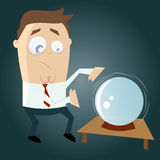 Funny cartoon man is fortune telling. Illustration of a funny cartoon man is fortune telling Royalty Free Stock Photo