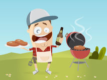 Funny cartoon man with grill steaks and beer Royalty Free Stock Photos