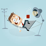Funny cartoon man in hammock Stock Images