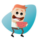 Funny cartoon man holding a melon Royalty Free Stock Images