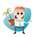 Funny cartoon man with houseplant Royalty Free Stock Images