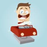 Funny Cartoon Man In Kiddy Ride