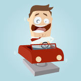 Funny cartoon man in kiddy ride Stock Photos