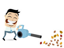 Funny cartoon man with leaf blower Royalty Free Stock Photo